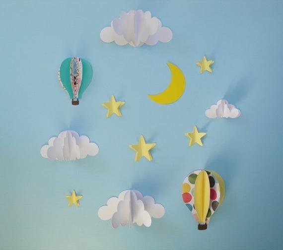 Etsy Regarding Most Popular Air Balloon 3D Wall Art (Gallery 7 of 15)