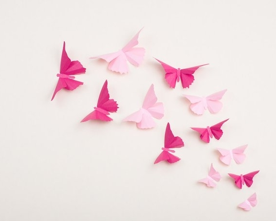 Etsy Throughout Most Current Pink Butterfly Wall Art (View 6 of 15)