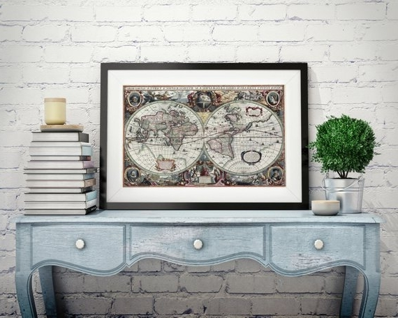 Etsy Within Antique Map Wall Art (Gallery 9 of 15)
