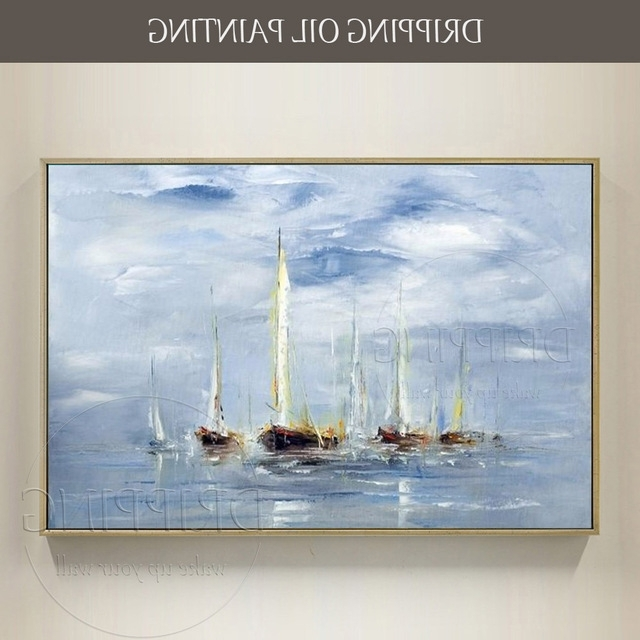 Excellent Artist Hand Painted High Quality Seascape Boat Oil In Preferred Boat Wall Art (View 10 of 15)