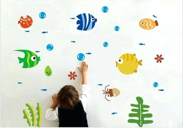 Excellent Bathroom Wall Stickers For Kids Cute Tropical Fish With Regard To Recent Fish Decals For Bathroom (View 13 of 15)