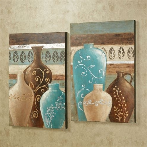 Exotic Vases Handpainted Canvas Wall Art Set within Favorite Exotic Wall Art