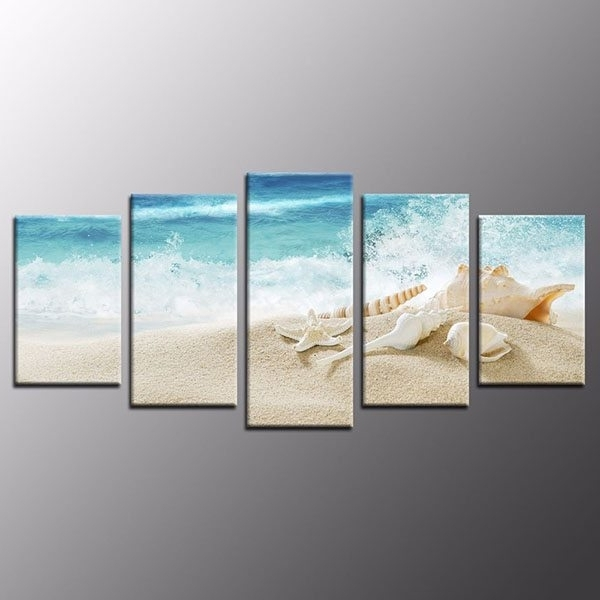 Exotic Wall Art Regarding Newest Modern Home Decor Print On Canvas Shell Exotic Beach Wall Art Poster (View 10 of 15)