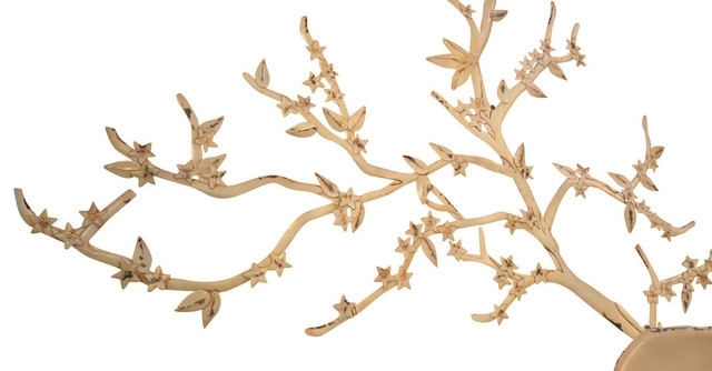"Extra Large 51"" Tree Branch Metal Wall Art, Cream White Cottage Within Current Metal Wall Art Trees And Branches (View 3 of 15)"