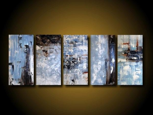 Extra Large Abstract Art Modern Painting Wall Art Blue Painting inside Favorite Blue Canvas Abstract Wall Art