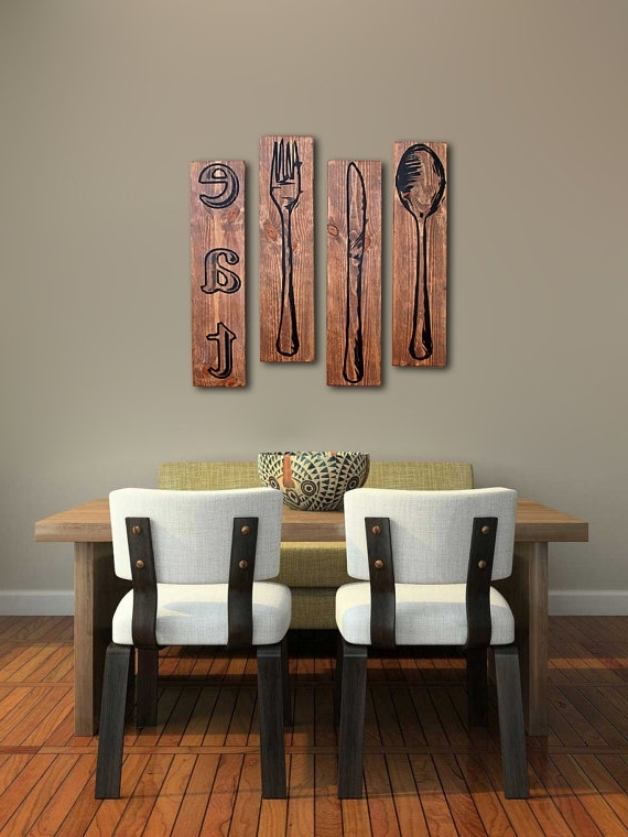 Extra Large Fork Knife And Spoon Wall Art Eat Sign Set On Beautiful with regard to Most Recently Released Big Spoon And Fork Wall Decor