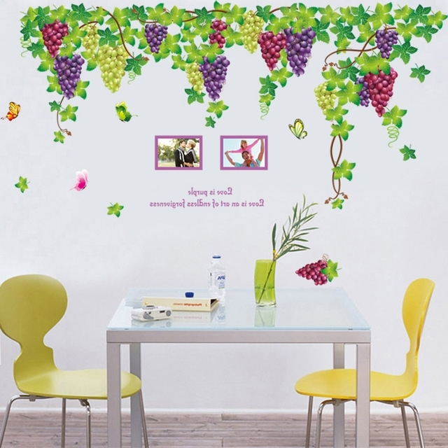 Extra Large Fruit Purple Grape Wall Stickers For Living Room Wall with regard to Recent Grape Wall Art