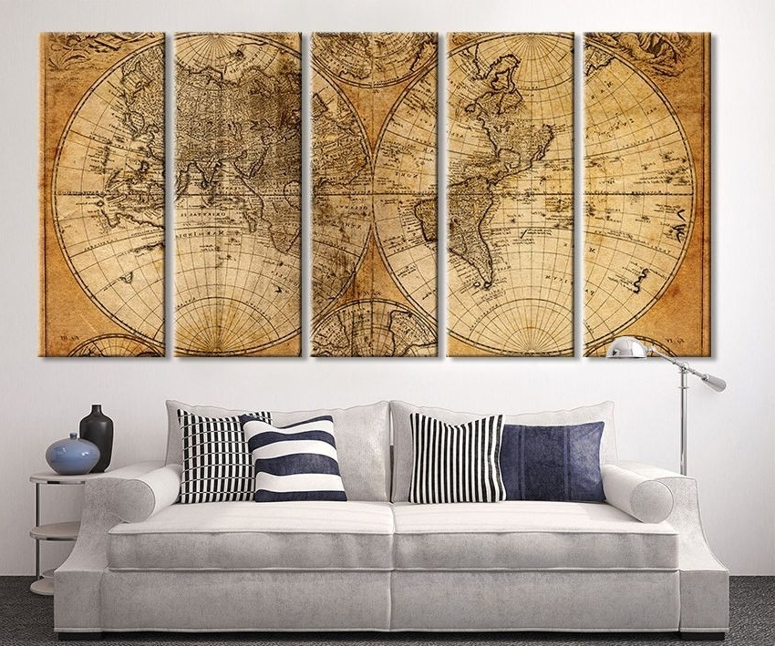 Extra Large Wall Art Prints with regard to Most Up-to-Date Oversized Canvas Art Prints - Vintage World Map Canvas Print, X