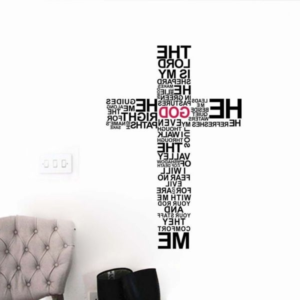 Faith Cross 3D Wall Sticker Diy Words Jesus Home Decor Wall Decal With Popular 3D Wall Art Words (View 12 of 15)
