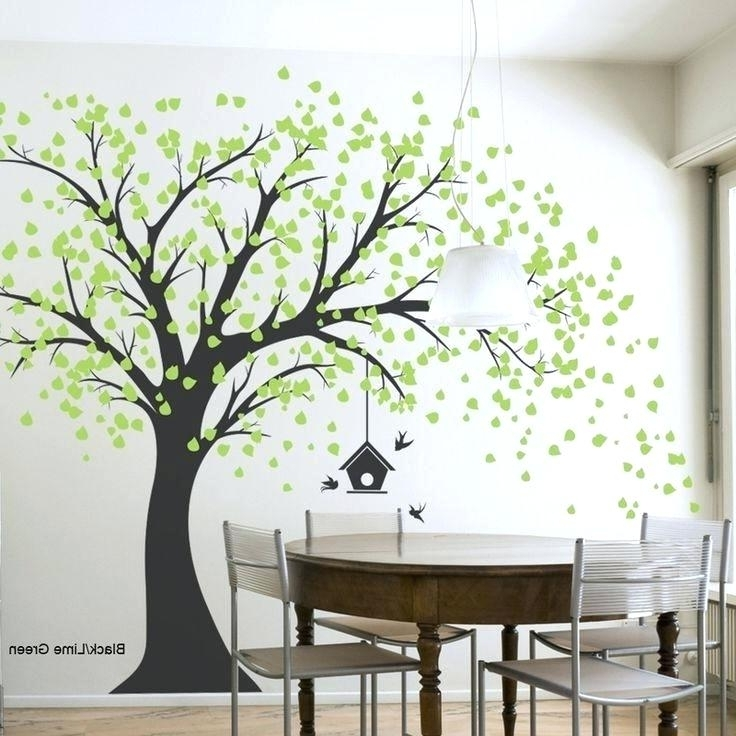 Family Tree Painted On Wall Decor With Frames Study Room Painting Pertaining To Well Liked Painted Trees Wall Art (View 3 of 15)