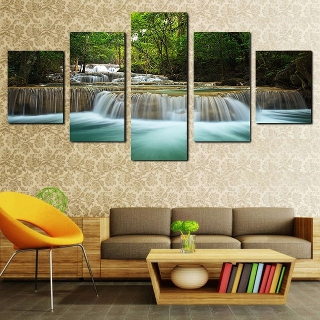 Famous 2017 New Style Framed Painting Jungle Creek Falls Canvas Wall Art 5 Intended For Jungle Canvas Wall Art (View 14 of 15)