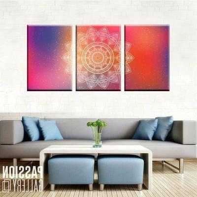 Famous 3 Piece Wall Decor Attractive Mandala Art 3 Piece Canvas Wall Art With Regard To 3 Set Canvas Wall Art (View 15 of 15)