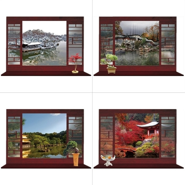 Famous 3D Garden Wall Art With Regard To Seasons Landscape Fake Window Stickers Garden Scenery 3D Wall Art (View 5 of 15)