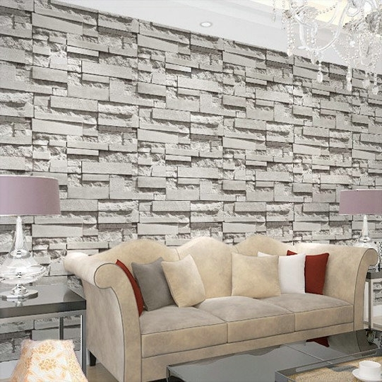 Famous 3D Plastic Wall Panels Throughout Special Price Korean Pvc Gray Stereo Imitated Brick Stripes (View 7 of 15)