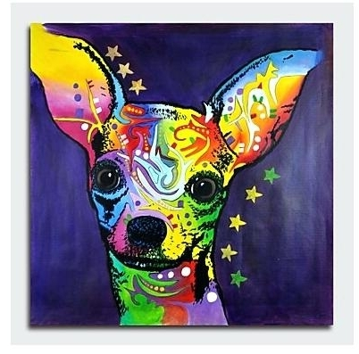 Famous Abstract Dog Art One Piece Hand Painted Modern Canvas Oil Painting Pertaining To Abstract Dog Wall Art (View 9 of 15)