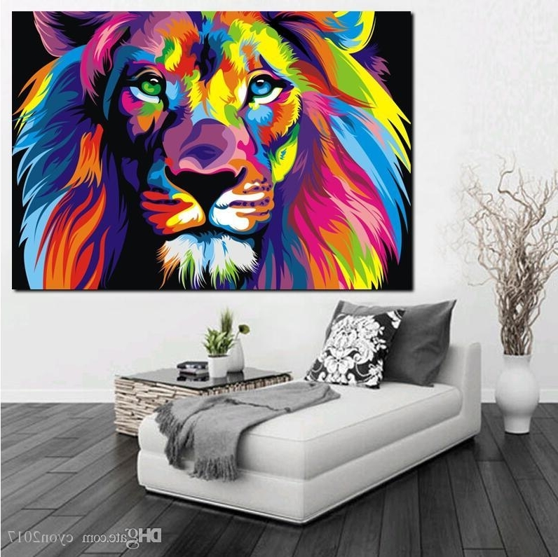 Famous Abstract Lion Wall Art Throughout 2018 Pop Art Hd Print Colorful Lion Animals Abstract Oil Painting On (View 13 of 15)