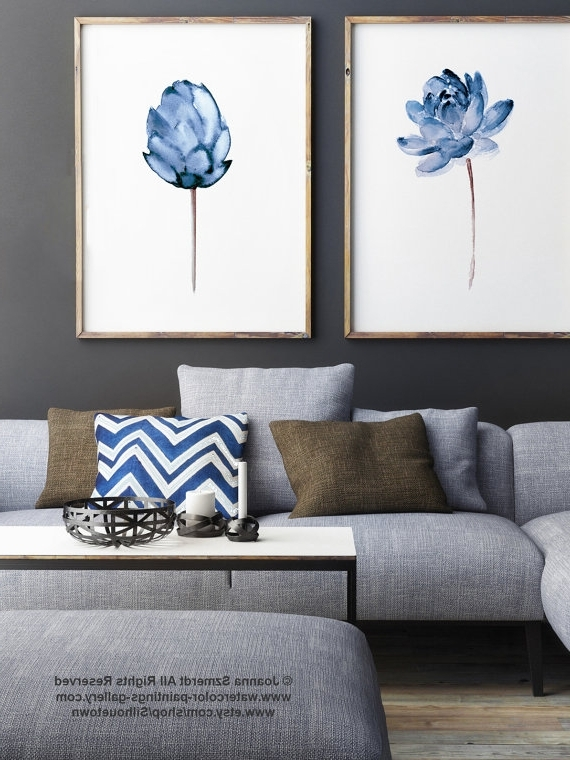 Famous Abstract Living Room Wall Art Inside Lotus Flower Art Print, Floral Watercolor Painting Set Of 2, Blue (View 11 of 15)