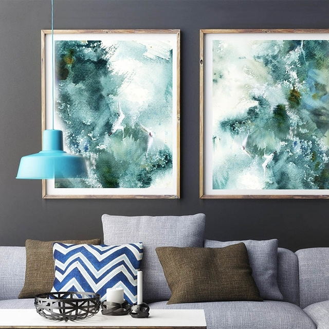 Famous Abstract Nautical Waves Wall Art Prints Sea Inspired Watercolor Intended For Abstract Nautical Wall Art (View 2 of 15)