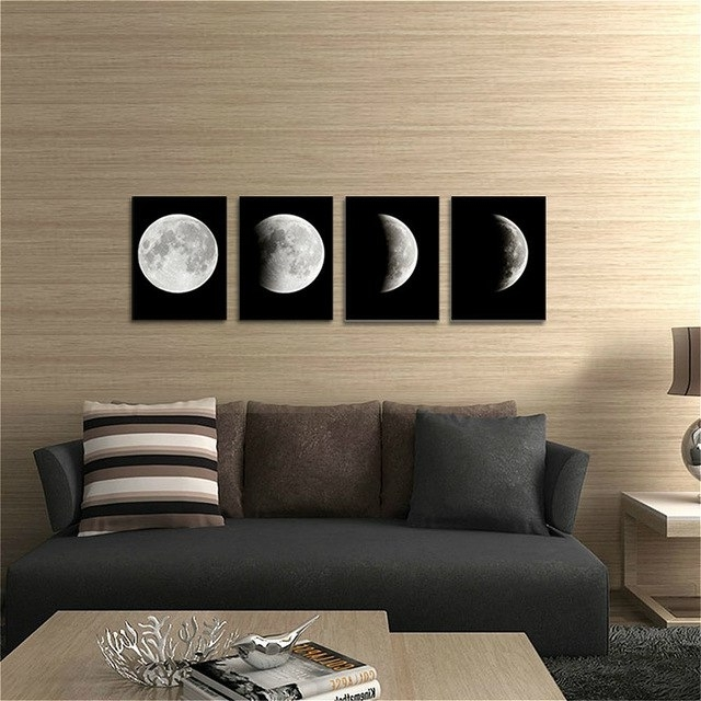 Famous Abstract Office Wall Art With Regard To Abstract Space Black And White Moon Picture Painting On Canvas Wall (View 12 of 15)