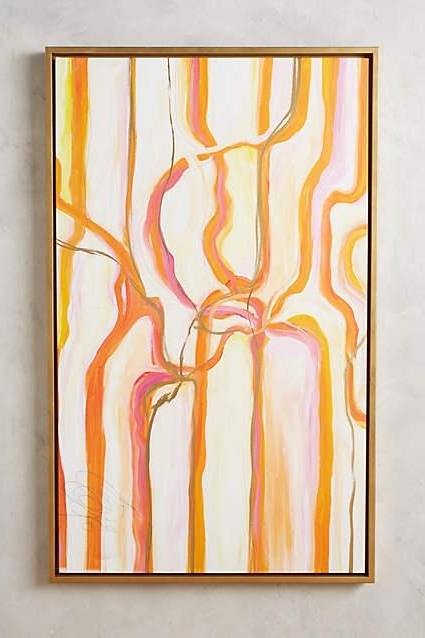 Famous Abstract Orange Wall Art In Sunset Ribbons Orange Wall Art (View 5 of 15)