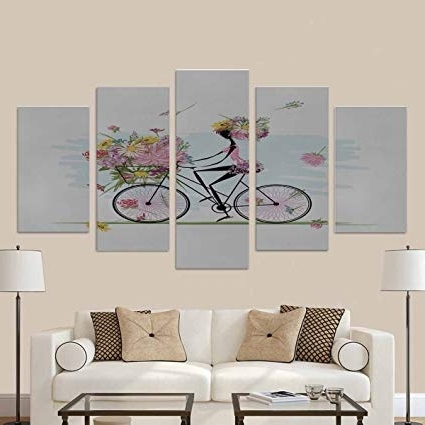 Famous Amazon: Interestprint Girl With Floral Bouquet In Basket Cycling Throughout Cycling Wall Art (View 7 of 15)