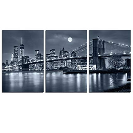 Famous Amazon: Live Art Decor – 3 Panels Brooklyn Bridge Canvas Wall With Regard To New York City Canvas Wall Art (View 4 of 15)