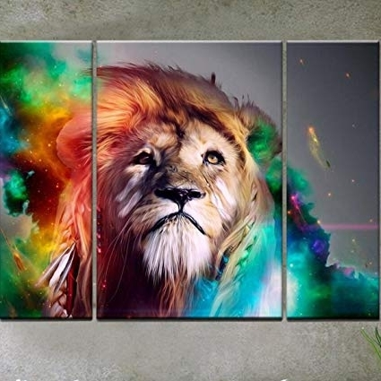 Famous Amazon: Rain Queen Modern Abstract Art Colorful Lion Oil Pertaining To Abstract Lion Wall Art (View 7 of 15)