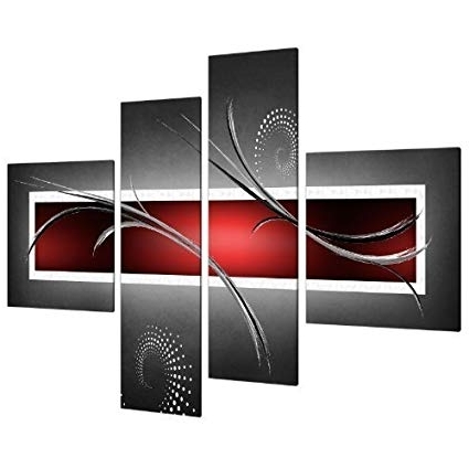 Famous Amazon: Red Black Grey Abstract Canvas Wall Art Pictures – Split Pertaining To Split Wall Art (View 4 of 15)