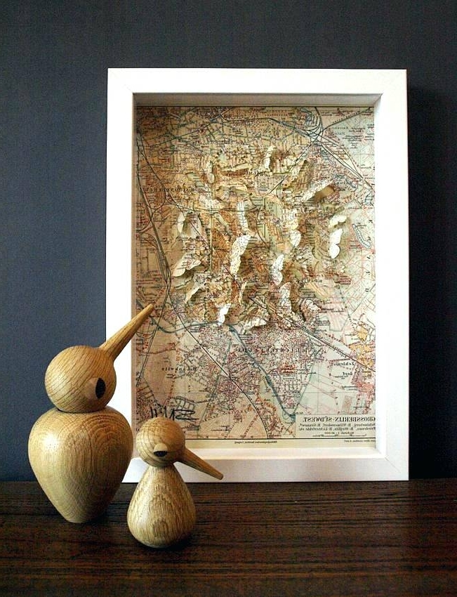 Famous Antique Map Wall Art In Antique Map Wall Art Antique Wall Art Decor High Street Vintage Map (View 8 of 15)