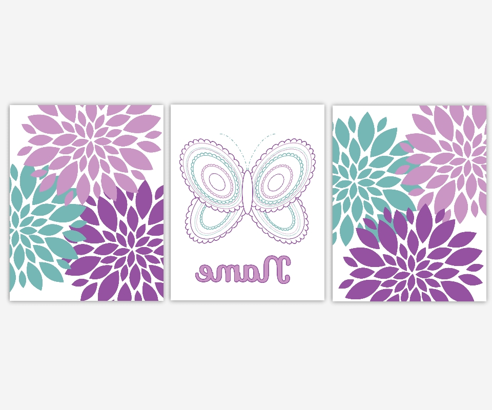 Famous Baby Girls Canvas Nursery Wall Art Purple Lavender Teal Aqua Intended For Butterfly Canvas Wall Art (View 7 of 15)