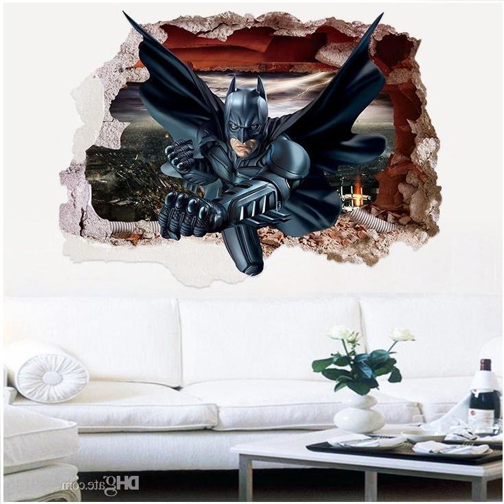 Famous Batman 3D Wall Art Throughout Batman 3D Broken Wall Art Wall Mural Stickers Pvc Movie Wall Decals (View 9 of 15)