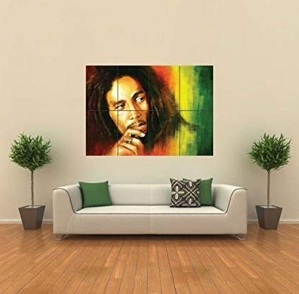 Famous Bob Marley Wall Art Within Amazon: Bob Marley In Rasta Colors Giant Wall Art Poster G (View 12 of 15)