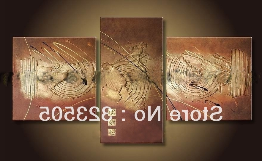 Famous Brown Abstract Wall Art For 3 Panel Brown Acrylic Canvas Wall Art Modern Abstract Wall Decor (View 12 of 15)