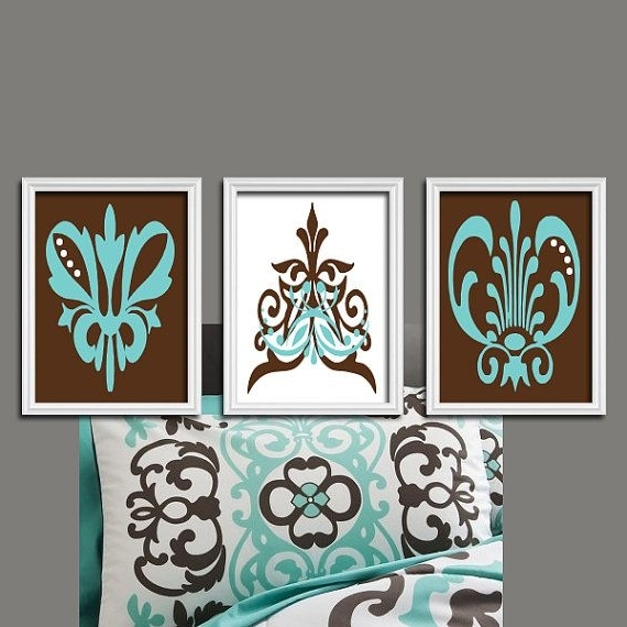 Famous Brown Aqua Turquoise Damask Swirl Design Abstracttrmdesign Pertaining To Turquoise And Brown Wall Art (View 11 of 15)