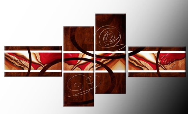 Famous Brown Red White Wide Stretch 4 Panel Abstract Canvas Wall Art Pertaining To Brown Abstract Wall Art (View 10 of 15)