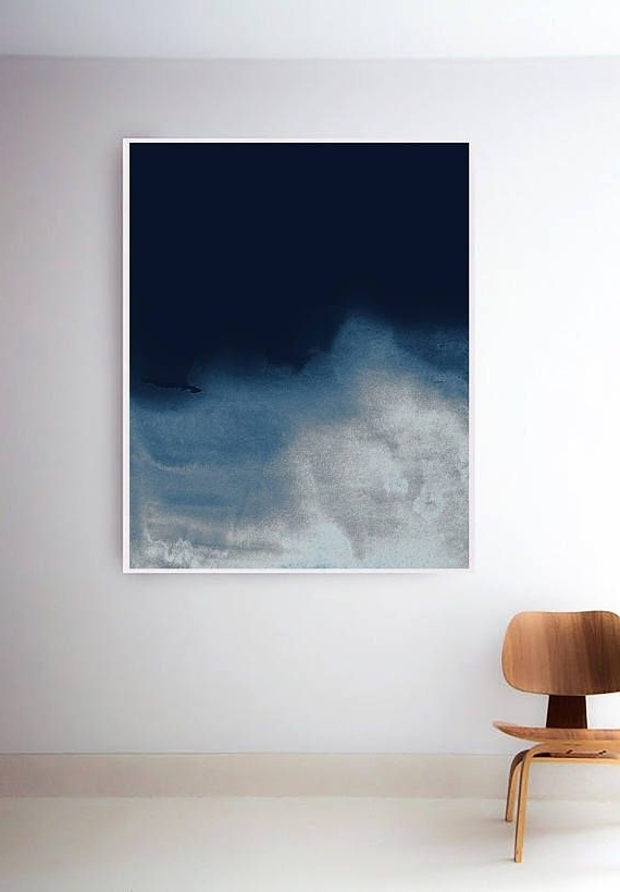 Famous Dark Blue Wall Art intended for Printable Navy Wave Print. Dark Blue Abstract Prints. Blue Wall Art