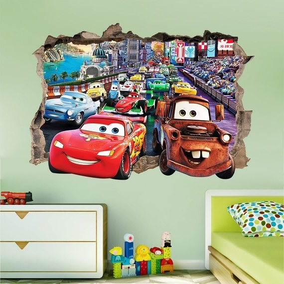 Famous Disney Cars 3D Wall Sticker Smashed Bedroom Kids Decor Vinyl (View 10 of 15)