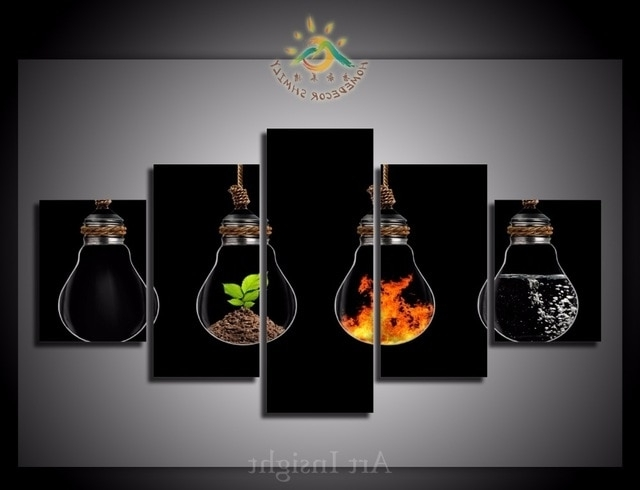 Famous Elements Wall Art Within 5 Pieces/set The Four Elements Of The Life Wall Art Paintings (View 8 of 15)