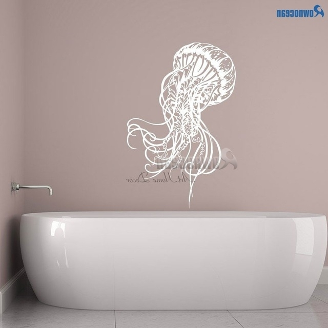 Famous Fish Decals For Bathroom Intended For Rownocean Jellyfish Sea Wall Decals Bathroom Jelly Fish Sticker (View 5 of 15)