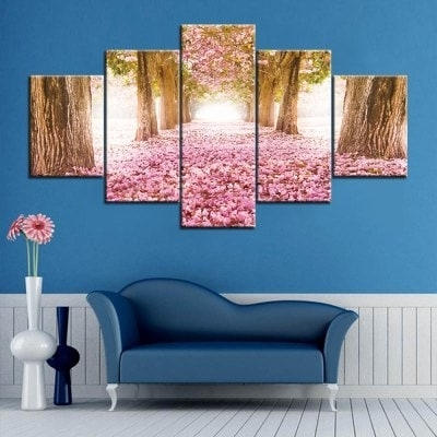 Famous Flower Field Print Split Canvas Wall Art Paintings – $ (View 2 of 15)