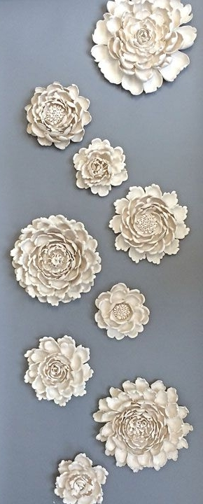 Famous Flowers! Syra Gomez Porcelain Wall Art Sculpture Installation Within Ceramic Flower Wall Art (View 3 of 15)