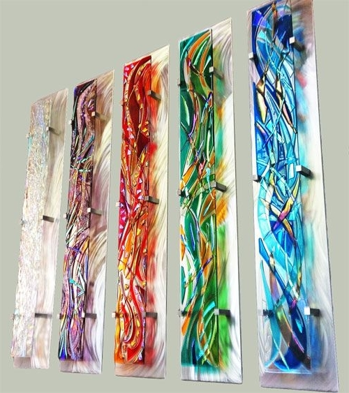 Famous Fused Glass Wall Art Hanging Intended For 42 Fused Glass Wall Art, Fuse Glass Wall Art Caribbean Blue Waves Jm (View 5 of 15)