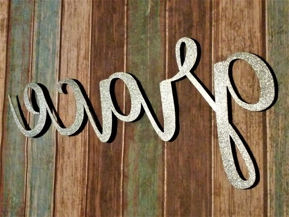 Famous Grace Wall Art Pertaining To Grace Sign Farmhouse Wall Decor Grace Wall Art Rustic Word (View 15 of 15)