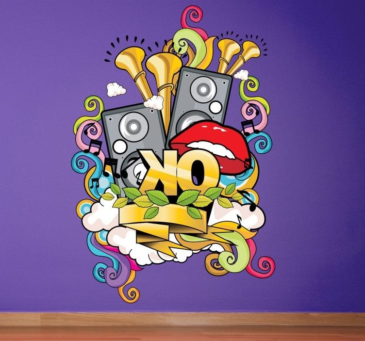 Famous Graffiti Wall Art Stickers With Regard To Musical Graffiti Wall Sticker – Tenstickers (View 4 of 15)