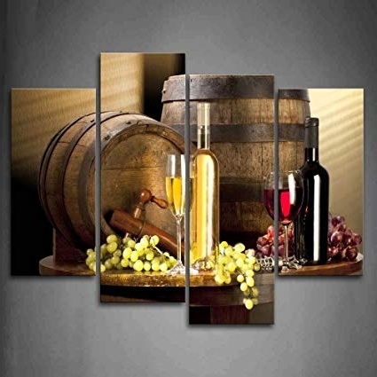 Famous Grape Wall Art Pertaining To Amazon: Various Wine With Grape Wall Art For Kitchen Painting (View 14 of 15)