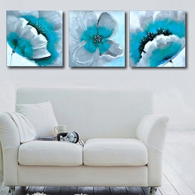 Famous Hand Painted Turquoise Flower Oil Painting On Canvas Abstract Wall Intended For Acrylic Abstract Wall Art (View 7 of 15)