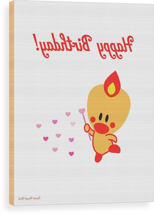 Famous Happy Birthday Wall Art Throughout Cute Art – Sweet Angel Bird Heart Magic Wand Happy Birthday Sign (View 9 of 15)