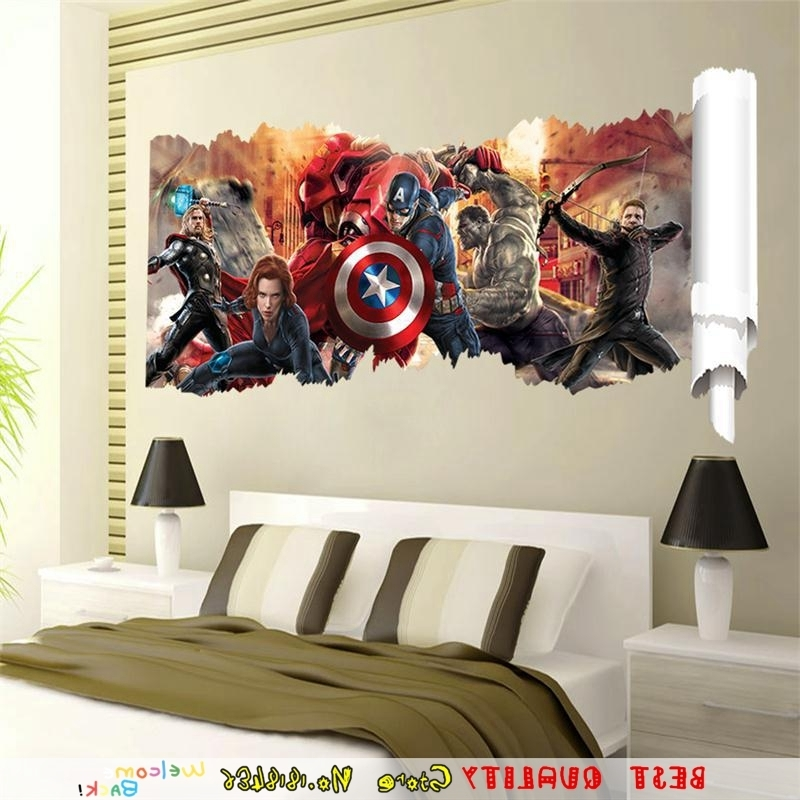 Famous Large Marvel Wall Sticker 3D Avengers Captain America Thor Hulk Home Regarding Captain America 3D Wall Art (View 9 of 15)