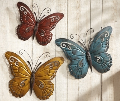 Famous Large Metal Butterfly Wall Art Pertaining To Nature Inspired Metal Butterfly Wall Art Trio From Collections Etc (View 1 of 15)