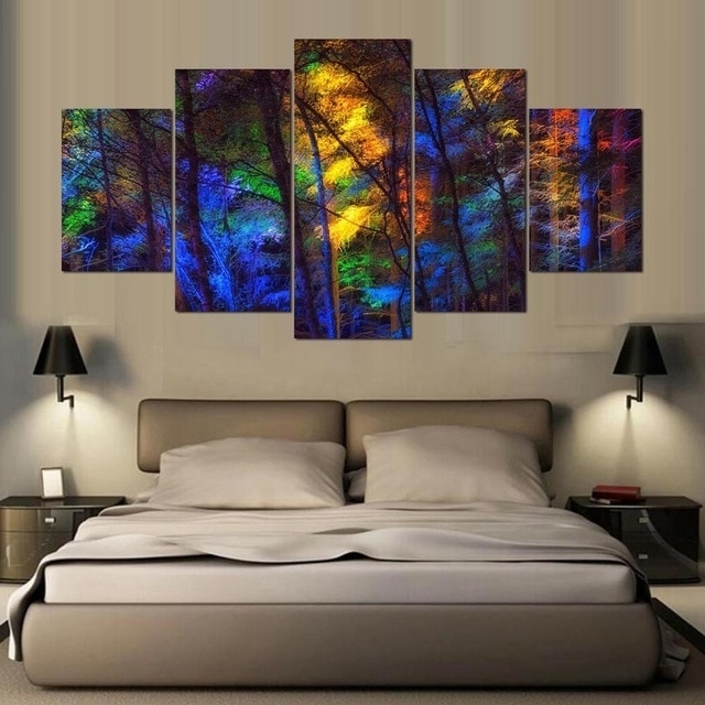 Famous Limited Edition Wall Art Within 5 Panel Modern Tree Canvas Limited Edition Hd Art Print Canvas Art (View 2 of 15)